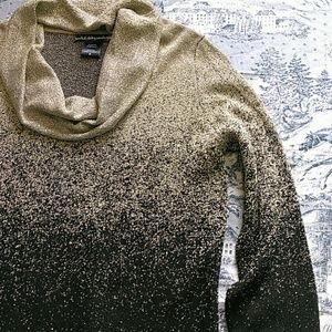 United States Cowl neck gold and black sweater